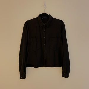 Zara Black Cropped Shirt
